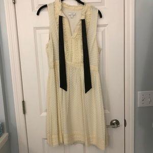 Beautiful silk Jcrew dress with front black tie